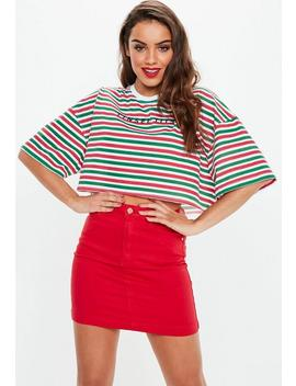 Green Striped Tinsel Tits Slogan Cropped T Shirt by Missguided