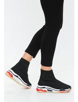 Black Color Block Out Sole Sock Sneakers by Missguided