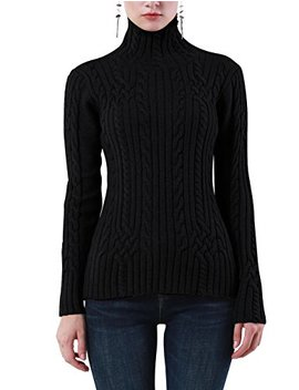 Rocorose Women's Cable Knit Long Sleeves High Neck Pullover Sweaters by Rocorose