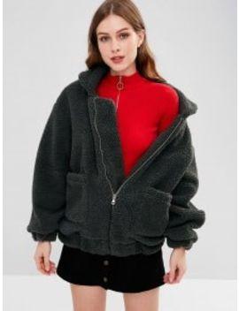 Fluffy Zip Up Winter Teddy Coat   Slate Gray L by Zaful