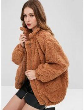 Slip Pockets Faux Fur Teddy Coat   Light Brown S by Zaful