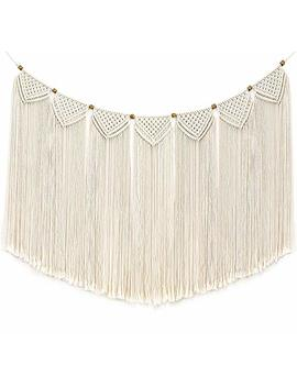 """Mkono Macrame Wall Hanging Curtain Fringe Garland Banner Bohemian Wall Decor Woven Home Decoration For Apartment Bedroom Living Room Gallery Baby Nursery Perfect Handmade Gift Ideas, Large 47""""L X 28""""W by Mkono"""