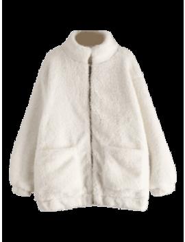 Slip Pockets Faux Fur Teddy Coat   White S by Zaful