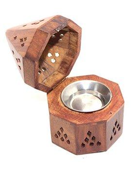 Govinda   5 Inch Temple Wooden Charcoal/Cone Burner by Govinda®