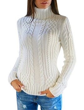 Pink Queen Women's Cable Knit Crewneck Casual Pullover Sweater by Pink Queen