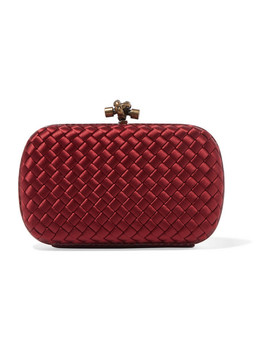 Chain Knot Watersnake Trimmed Intrecciato Satin Clutch by Bottega Veneta