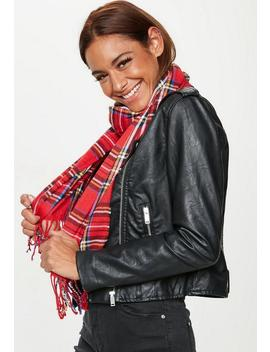 Red Brushed Plaid Scarf by Missguided