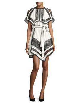 Monochrome Striped Handkerchief Dress With Lace by Neiman Marcus