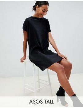 Asos Design Tall Slash Neck T Shirt Dress In Plisse by Asos Design