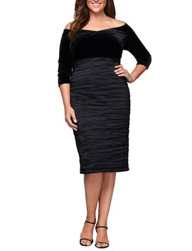 Off The Shoulder Velvet Bodice Sheath Dress by Alex Evenings