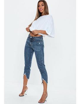 Dark Blue Denim Distressed Mom Jeans by Missguided