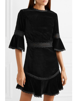 Doloris Fluted Lace Trimmed Velvet Mini Dress by Alice + Olivia