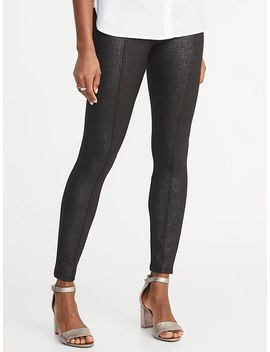 High Rise Stevie Ponte Knit Shimmer Pants For Women by Old Navy