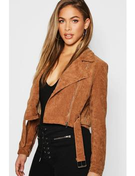 Cord Zip Through Belted Jacket by Boohoo
