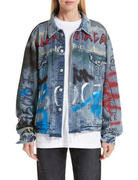 Graffiti Print Denim Jacket by Balenciaga