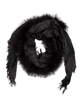 Survie Fur Trimmed Scarf W/ Tags by Gucci