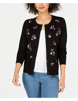 Long Sleeve Floral Embroidered Cardigan, Created For Macy's by Charter Club