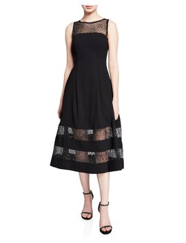 Bateau Neck Sleeveless A Line Dress W/ Lurex® Dot Illusion Hem by Aidan By Aidan Mattox