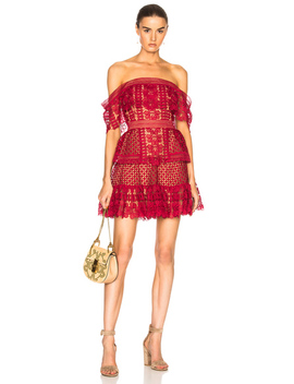 Off Shoulder Guipure Mini Dress by Self Portrait