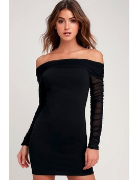 Move That Body Black Ruched Mesh Off The Shoulder Bodycon Dress by Lulu's