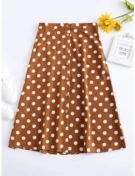 Buttoned A Line Polka Dot Midi Skirt   Tiger Orange S by Zaful