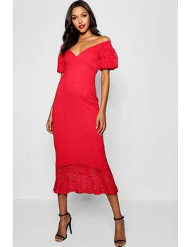 Tall Off The Shoulder Lace Midi Dress by Boohoo