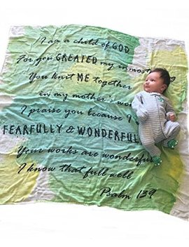 """Child Of God Swaddle   Psalm 139   Baptism Gifts For Baby   47""""X47""""   Bamboo And Cotton   Unisex Gender Neutral Baby Gift   Muslin Swaddle Blanket Non Toxic   God Child Gift by Papillon Bebe"""