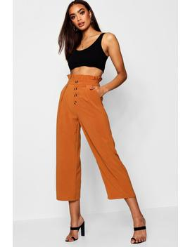 Woven Button Front Culotte Trousers by Boohoo