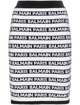 Knit Logo Stripe Skirt by Balmain