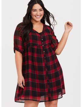 Red Plaid Chiffon Shirt Dress by Torrid