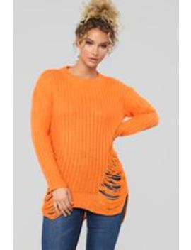 Unraveled Sweater   Neon Orange by Fashion Nova
