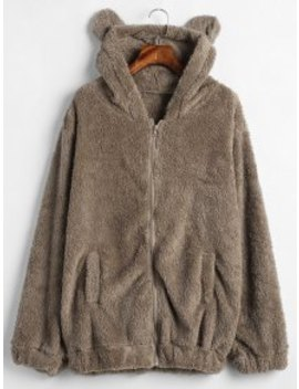 Zip Up Bear Fuzzy Coat   Brown Bear by Zaful