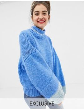 One On Hand Knitted Colourblock Jumper With Balloon Sleeve by Oneon