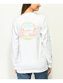 Dark Seas Bottoms Up White Long Sleeve T Shirt by Dark Seas