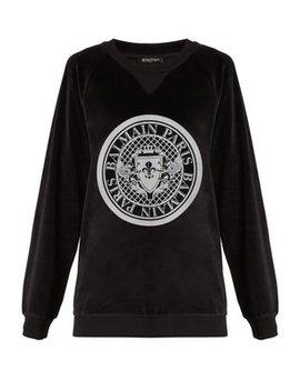 Printed Crest Cotton Velvet Sweatshirt by Matches Fashion