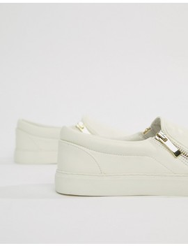 Asos Design Slip On Plimsolls In White With Zips by Asos Design