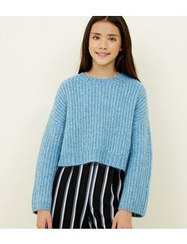 Girls Pale Blue Wide Sleeve Knitted Jumper by New Look