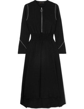 Asymmetric Studded Crepe Midi Dress by Maje