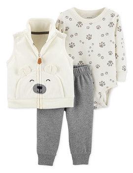 Baby Boys 3 Pc. Bear Vest, Bodysuit & Pants Set by Carter's