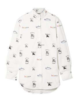 Printed Cotton Blend Poplin Shirt by Burberry