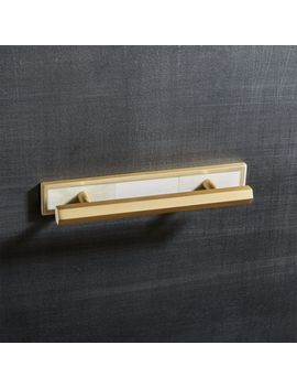 """4"""" Hex Brushed Brass Handle With Bone Backplate by Crate&Barrel"""
