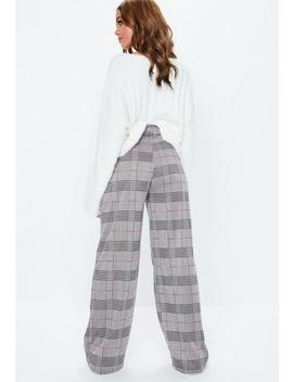 Black Jersey Wide Leg Plaid Pants by Missguided