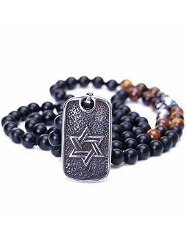 Pearlada Black Onyx Skull Pendant Necklace Stainless Steel Handmade Gemstone Gothic Hematite Beads Jewelry For Men by Pearlada