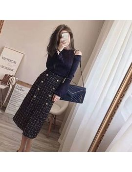 Century Girl   Cold Shoulder Sweater/ Plaid Double Placket Midi H Line Skirt/ Set by Century Girl