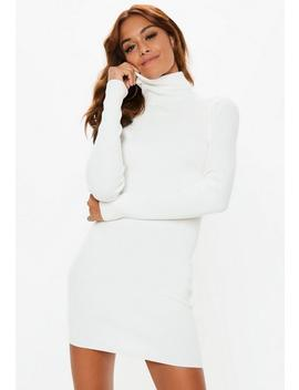 White Roll Neck Ribbed Knitted Mini Dress by Missguided