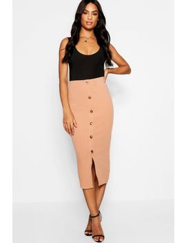 Tall Button Front Rib Bodycon Skirt by Boohoo