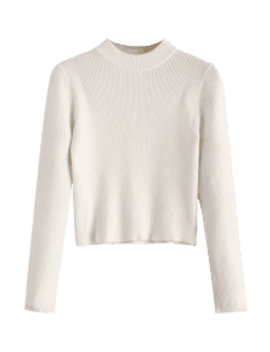 Mock Neck Cropped Pullover Sweater   White by Zaful