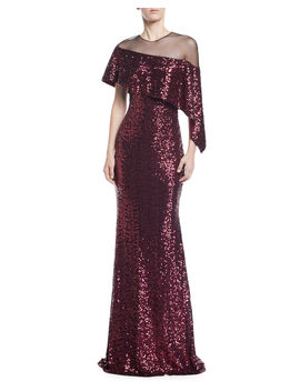 Asymmetric Cape & Popover Sequin Gown by Badgley Mischka Collection