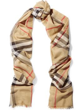 格纹羊毛真丝混纺围巾 by Burberry