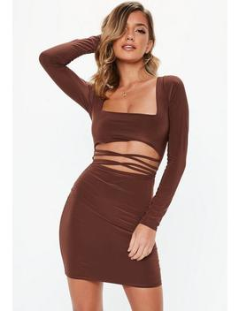 Chocolate Slinky Cut Out Mini Dress by Missguided